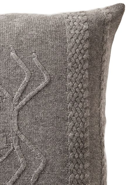 Aranea Cashmere Pillow - Gray & Ivory