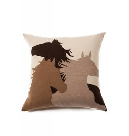 Rani Arabella Horse Cashmere Blend Pillow - Sand, Black, Orange & Purple