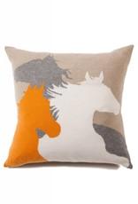 Rani Arabella Horse Cashmere Blend Pillow - Sand, Black, Orange & Purple