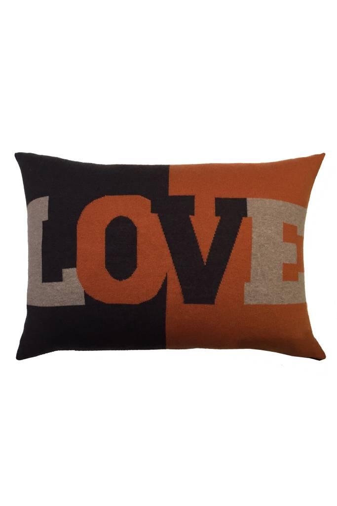 Rani Arabella Love Cashmere Pillow - Black, Blue & Orange