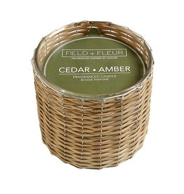 Hillhouse Cedar Amber Handwoven Candle 2 Wick 12oz.