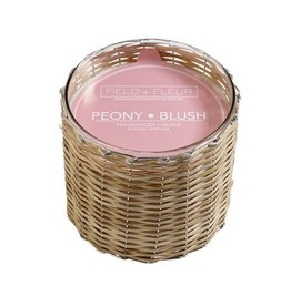 Hillhouse Peony Blush 2 Wick Handwoven Candle 12oz.