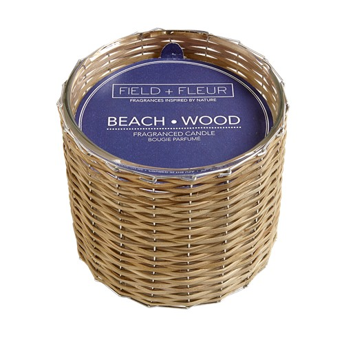 Hillhouse Beach Wood Handwoven 2 Wick Candle 12oz.