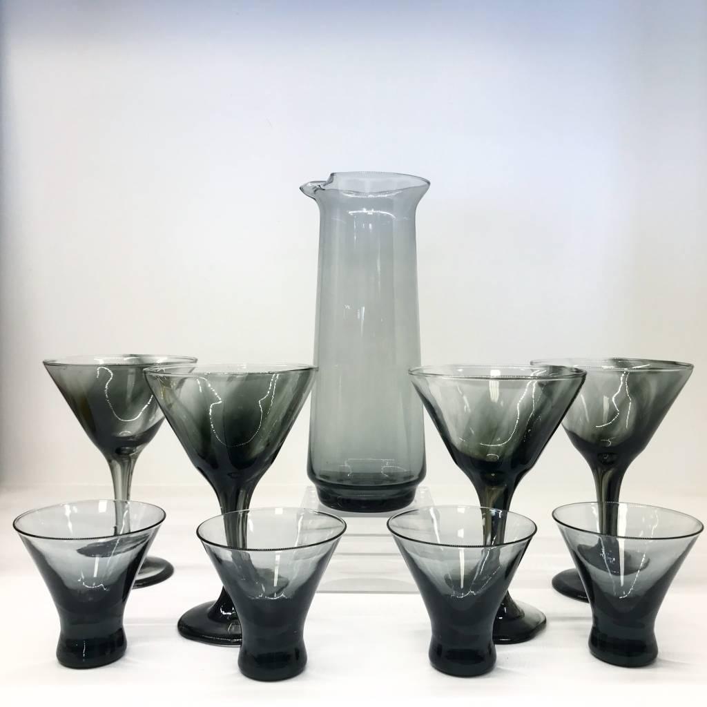 Vintage Smoke Black Morgantown Glass Set