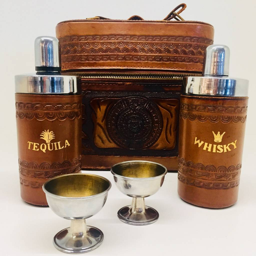 Mexican Tooled Leather Tequila & Whisky Decanter