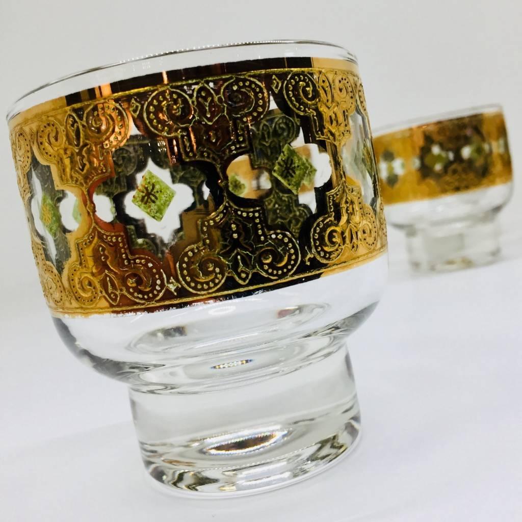 Mid Century Valencia Lowball Pedestal Glasses