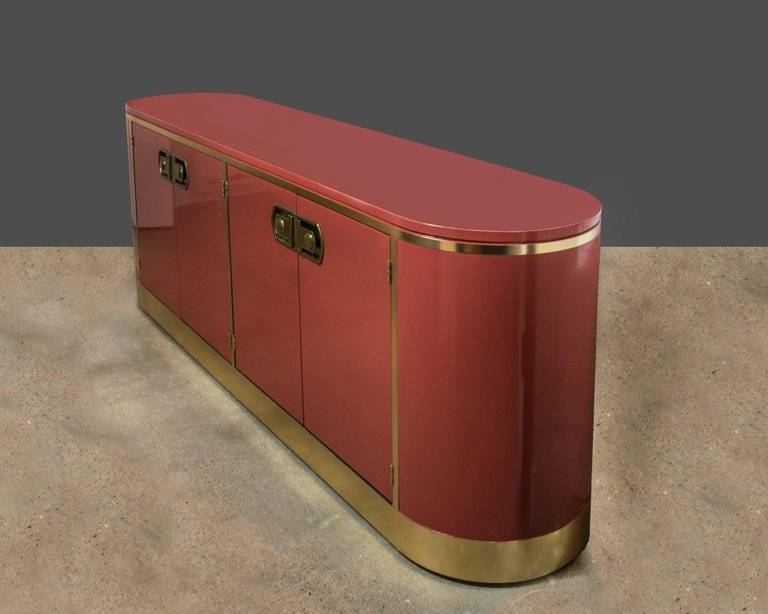 Mastercraft Brass and Moroccan Red Lacquer Credenza