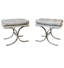 PAIR: Milo Baughman Double C-Base Stools