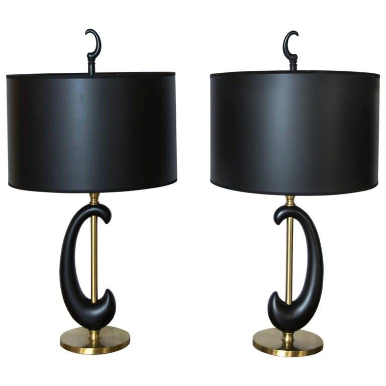 PAIR: Black Enamel/Bras Amoeba Shape Lamps