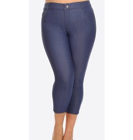 Sleek Denim Jeggings Capris Plus