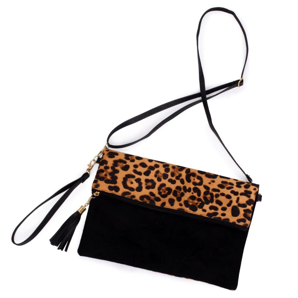 Foldover Leopard Crossbody Bag