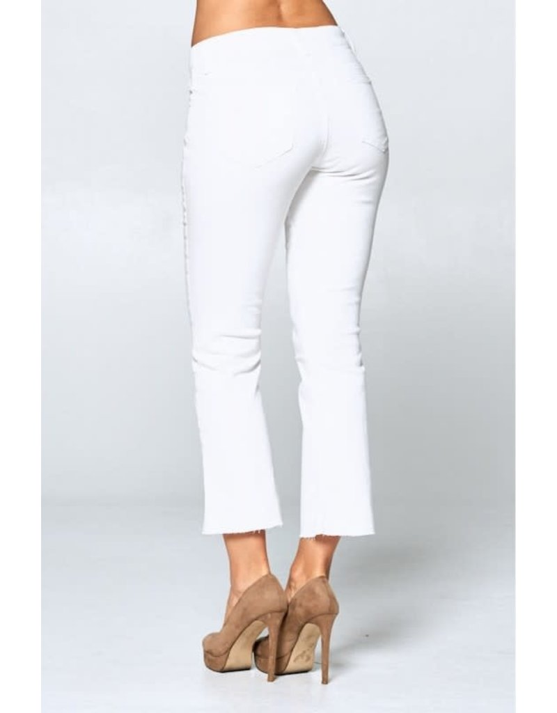 Mid Rise White Kick Flare Denim