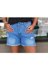 Ruffle High Rise Denim Shorts