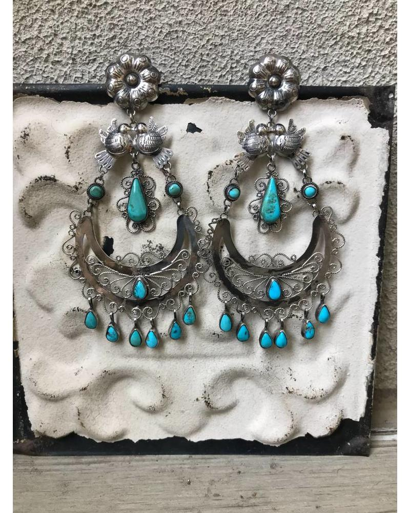 FEDERICO JIMENEZ FEDERICO DOVE OAXACA TURQUOISE EARRINGS