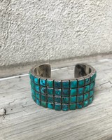 FEDERICO JIMENEZ FEDERICO FOUR ROWS TURQUOISE STERLING SILVER CUFF BRACELET
