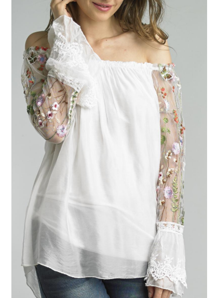 TEMPO PARIS MESH EMBROIDERED  SLEEVE  SILK TOP