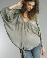 TEMPO PARIS SILK V-NECK EMROIDERED TOP