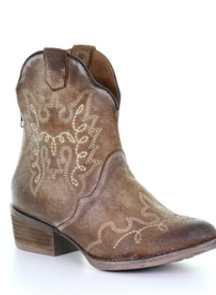 CIRCLE G EMBROIDERED ZIP BOOTIE
