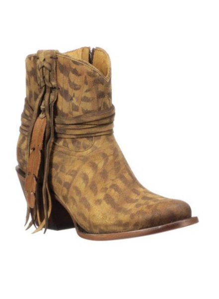 LUCCHESE ROBYN TAN FEATHER BOOTIE