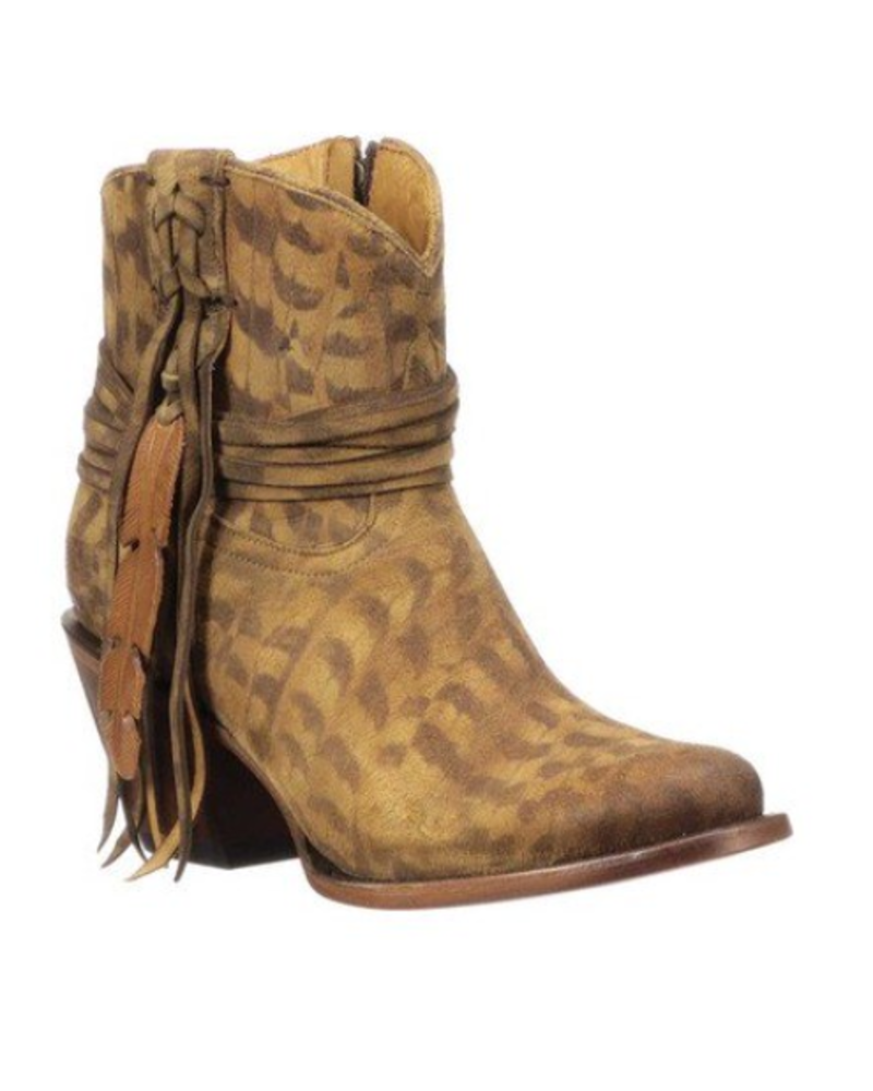 LUCCHESE TAN FEATHER BOOTIE
