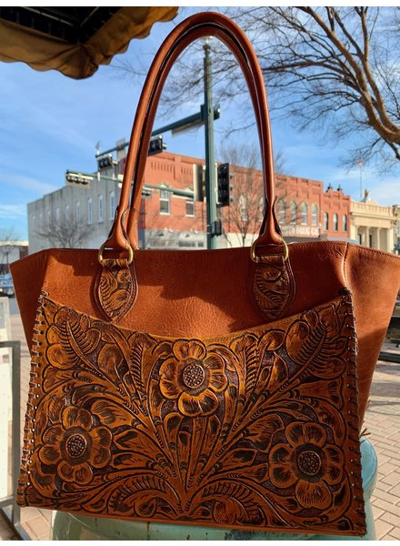 JUAN ANTONIO BISON  TOOLED HANDBAG