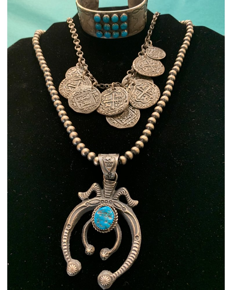 ART SIGNED STERLING NAJA W/NEVADA TURQUOISE
