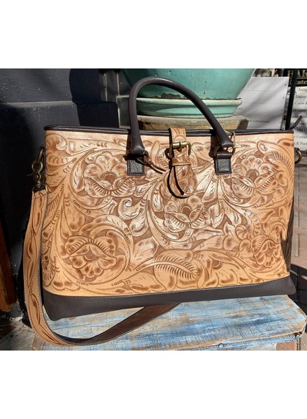 JUAN ANTONIO LARGE TOOLED ROSAL BAG