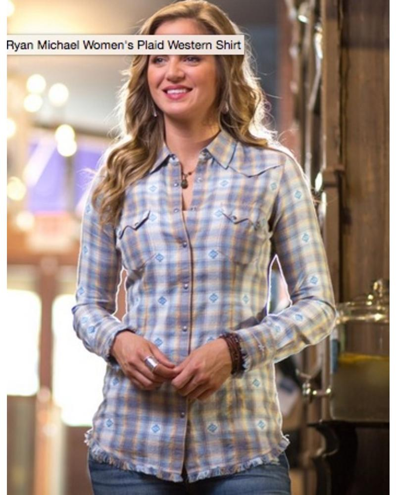 RYAN MICHAEL PLAID WESTERN SHIRT
