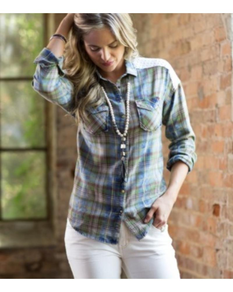 RYAN MICHAEL EYELET AND PLAID WESTERN SHIRT
