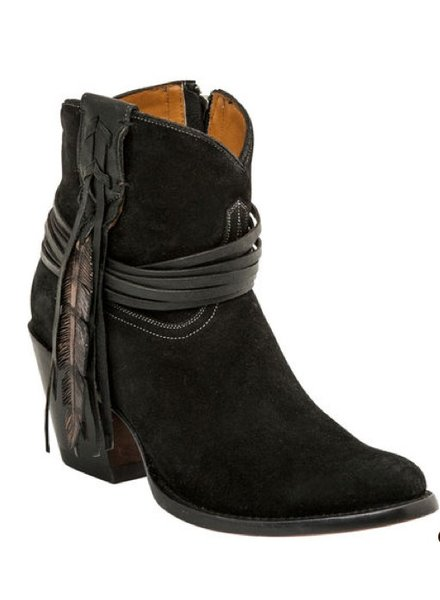 LUCCHESE ROBYN BLACK FEATHER BOOTIE