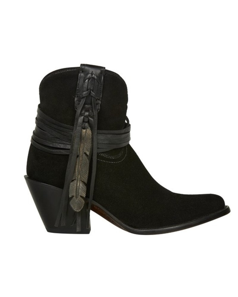 LUCCHESE LUCCHESE ROBYN BLACK FEATHER BOOTIE