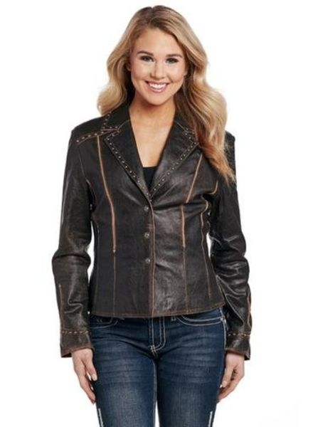 CRIPPLE CREEK LEATHER JACKET IN ANTIQUE CHOCOLATE