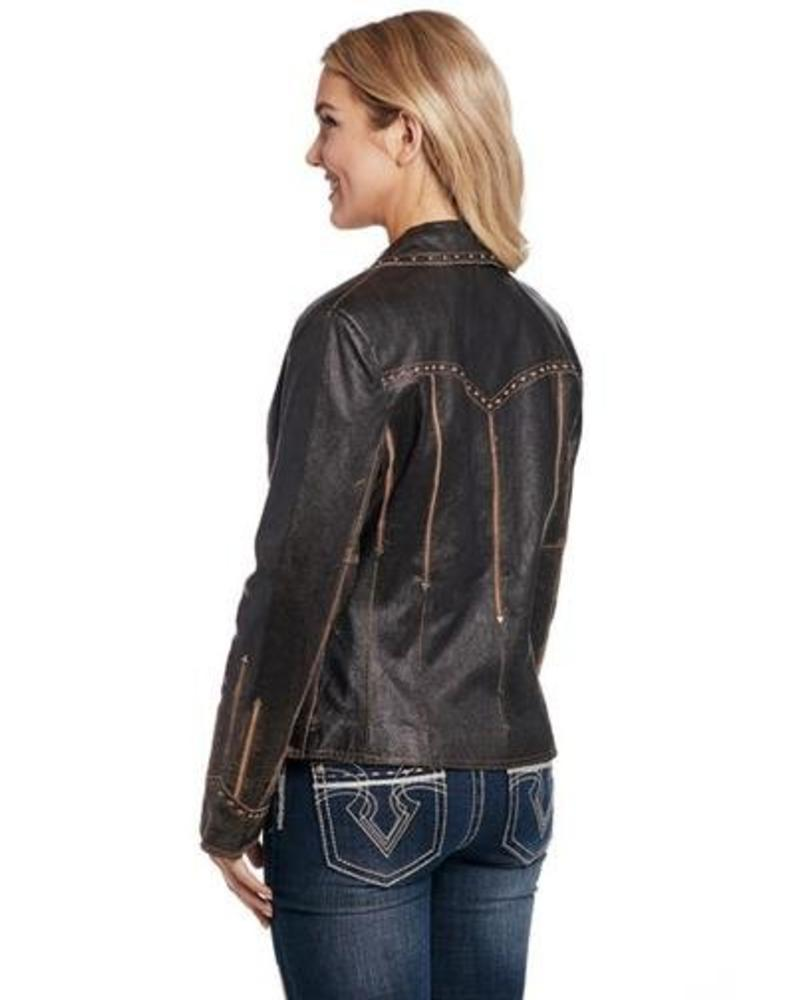 CRIPPLE CREEK LEATHER JACKET IN ANTIQUE CHOCOLATE BY CRIPPLE CREEK