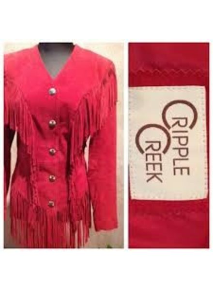 "CRIPPLE CREEK GHOST RIDER SUEDE JACKET IN BLACK AND ORISONS SPECIAL ""TURQUOISE & RED"" !!"