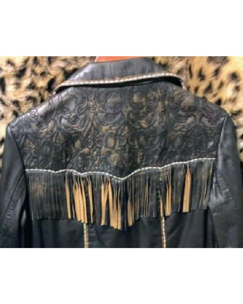 SCULLY WOMENS FRINGE TOOLED LEATHER JACKET IN MED AND XL