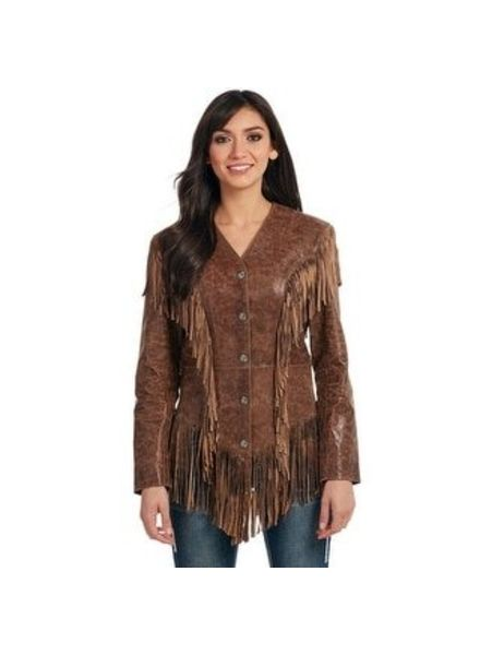 CRIPPLE CREEK WESTERN WOMENS JACKET GHOST RIDER FRINGE BROWN
