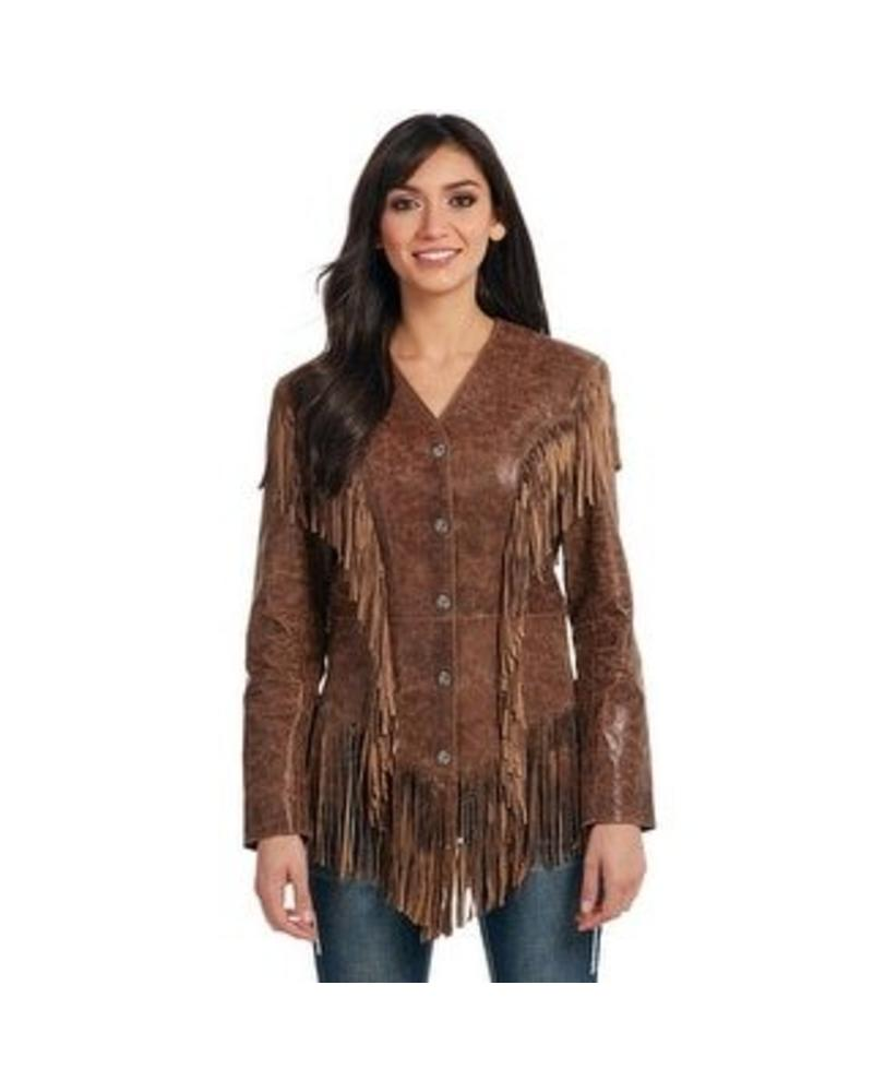 CRIPPLE CREEK CRIPPLE CREEK WESTERN WOMENS JACKET GHOST RIDER FRINGE BROWN