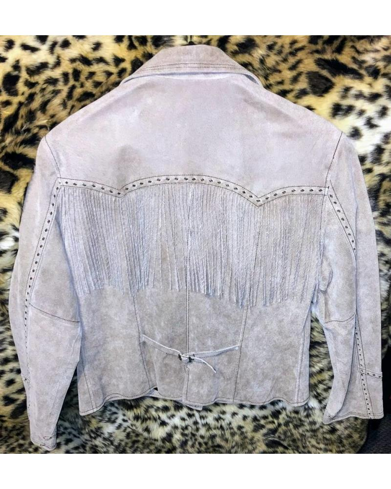 CRIPPLE CREEK CRIPPLE CREEK WOMENS DISTRESSED FRINGE LEATHER JACKET