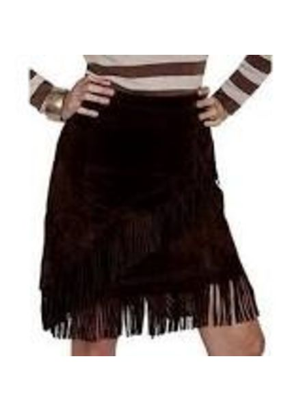 SCULLY ESPRESSO SUEDE FRINGE SKIRT