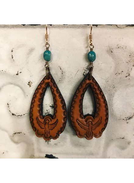 J FORKS STAMPED LEATHER EARRINGS