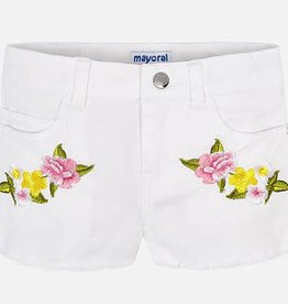 Mayoral Embroidered Floral Shorts (White) 5 Years