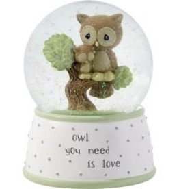 "Precious Moments ""Owl You Need Is Love"" Musical Snow Globe, Resin/Glass"