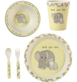Precious Moments 5-Piece Elephant Mealtime Gift Set, Bamboo