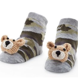Camo Bear Rattle Toe Socks, 0-12 Months