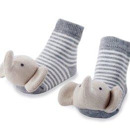 Mud Pie Elephant Rattle Toe Socks, 0-12 Months