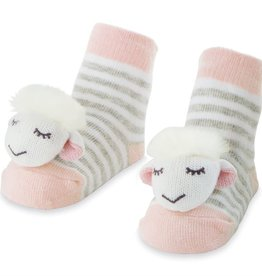 Pink Sheep Rattle Toe Socks, 0-12 Months