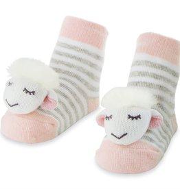 Pink Sheep Rattle Toe Socks, 0-12 Months