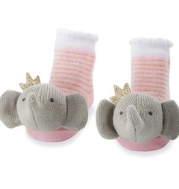 Pink Crowned Elephant Rattle Toe Socks, 0-12 Months