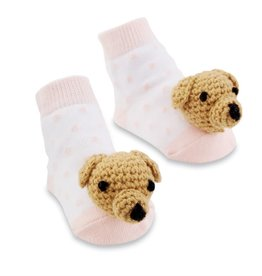 Mud Pie Pink Dog Rattle Toe Socks, 0-12 Months