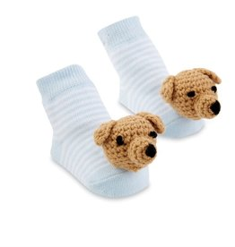 Mud Pie Blue Dog Rattle Toe Socks, 0-12 Months